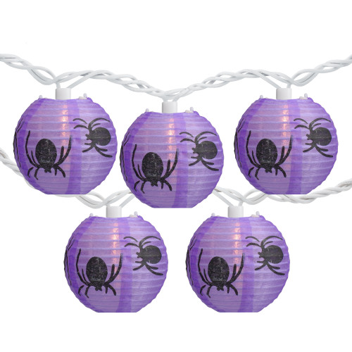 10-Count Purple and Black Spider Paper Lantern Halloween Lights, Clear Bulbs - IMAGE 1
