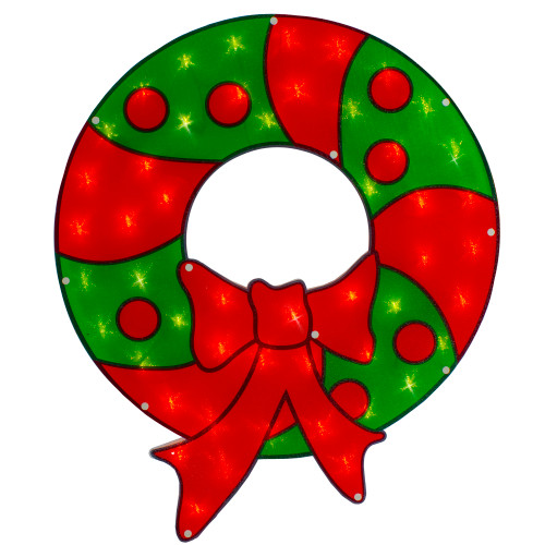 """23"""" Lighted Red and Green Christmas Wreath Window Silhouette - IMAGE 1"""