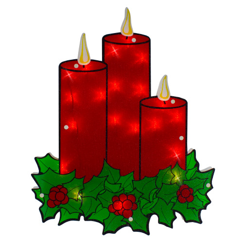 """17.5"""" Lighted Red Three Candles Christmas Window Silhouette - IMAGE 1"""