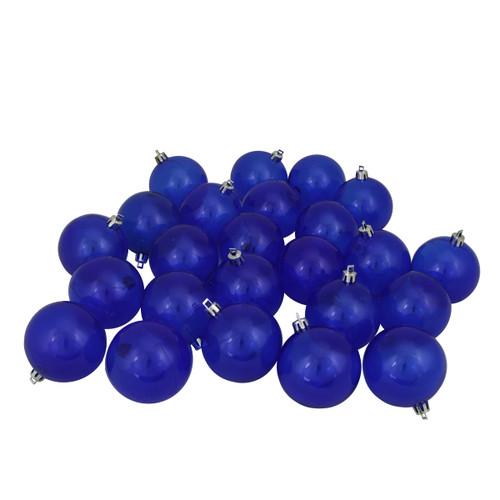 "32ct Blue Shatterproof Transparent Christmas Ball Ornaments 3.25"" (80mm) - IMAGE 1"