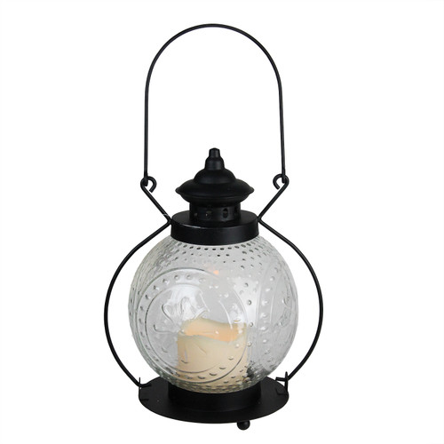 """11"""" Clear Molded Glass Lantern with Flameless LED Pillar Timer Candle - IMAGE 1"""