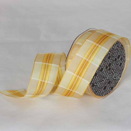 "Yellow and White Plaid Wired Craft Ribbon 1.5"" x 27 Yards - IMAGE 1"