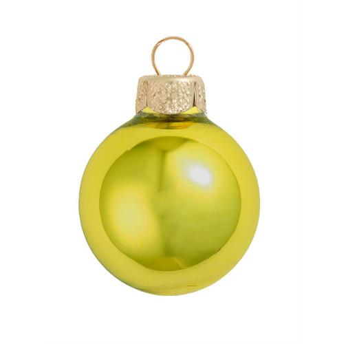 "28ct Matte Soft Yellow Glass Ball Christmas Ornaments 2"" (50mm) - IMAGE 1"