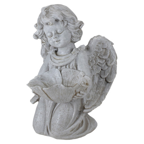 """9"""" Kneeling Angel with Flower Bird Feeder Outdoor Garden Statue - IMAGE 1"""