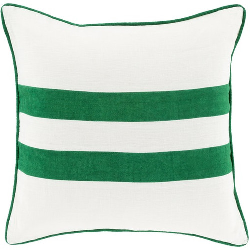 """20"""" Emerald Green and White Two Stripes Contemporary Square Throw Pillow - IMAGE 1"""