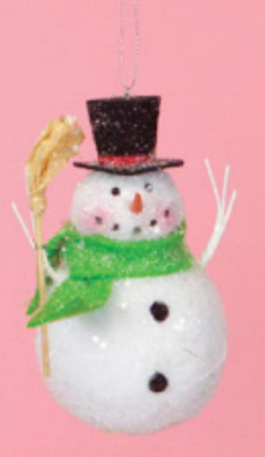 """5"""" Cupcake Heaven Snowman with Broom and Green Scarf Christmas Ornament - IMAGE 1"""