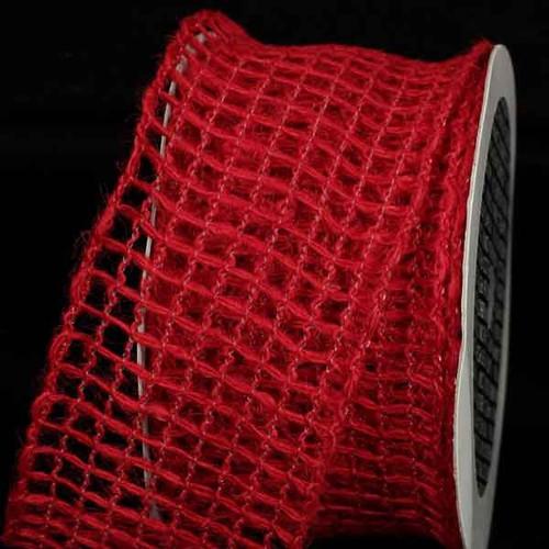 "Scarlet Red Mesh Wired Craft Ribbon 2.5"" x 22 Yards - IMAGE 1"