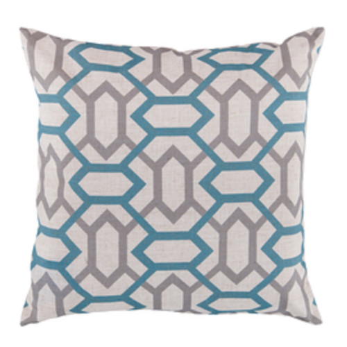 "22"" Gray and Blue Square Throw Pillow - Down Filler - IMAGE 1"