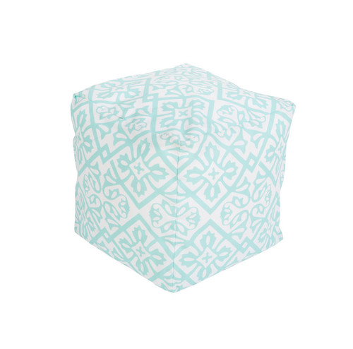 "18"" Mint Green and Beige Floral Star Square Outdoor Patio Pouf Ottoman - IMAGE 1"