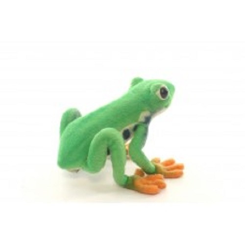 "Set of 4 Green and Orange Handcrafted Soft Plush Tree Frog Stuffed Animals 6.5"" - IMAGE 1"