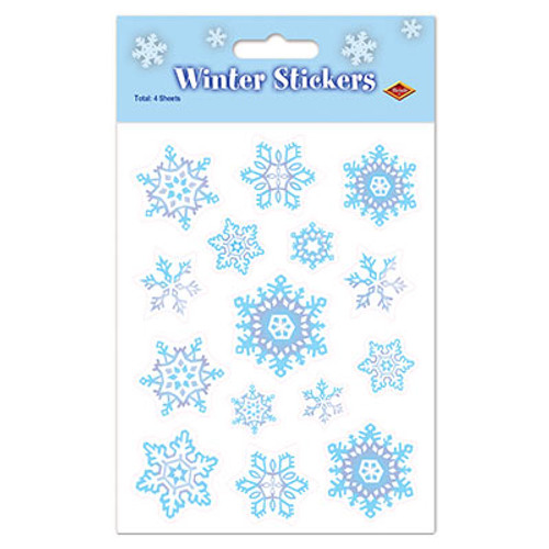 """Club Pack of 48 Blue and White Snowflake Christmas Sticker Sheets 7.5"""" - IMAGE 1"""