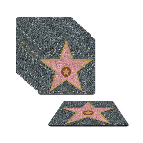 """Club Pack of 96 Gray Hollywood Walk of Fame Star Decorative Square Coasters 3.5"""" - IMAGE 1"""