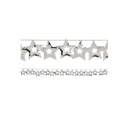 12 Confetti Metallic Silver Cutout Stars Hanging Christmas Party Garlands 108' - IMAGE 1