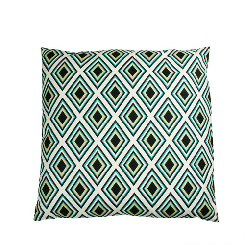 """30"""" Green and Black Diamond Patterned Floor Square Throw Pillow - IMAGE 1"""