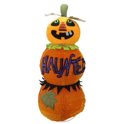 "38"" Orange and Black Standing Spooky Jack-O-Lantern Pumpkin Lighted Halloween Decor - IMAGE 1"