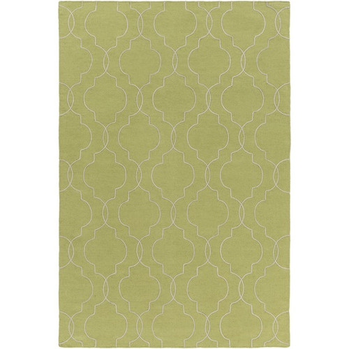 5' x 7.5' Quatrefoil Seafoam and Lime Green Hand Tufted Rectangular Wool Area Throw Rug - IMAGE 1
