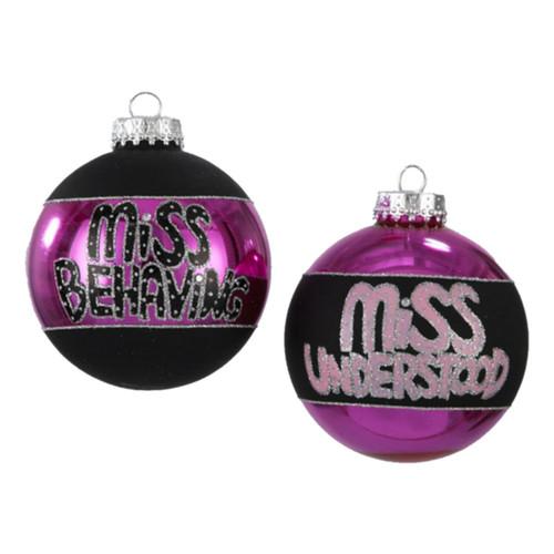 "4ct Purple and Black Shiny Glass Christmas Ball Ornaments 3.25"" (80mm) - IMAGE 1"