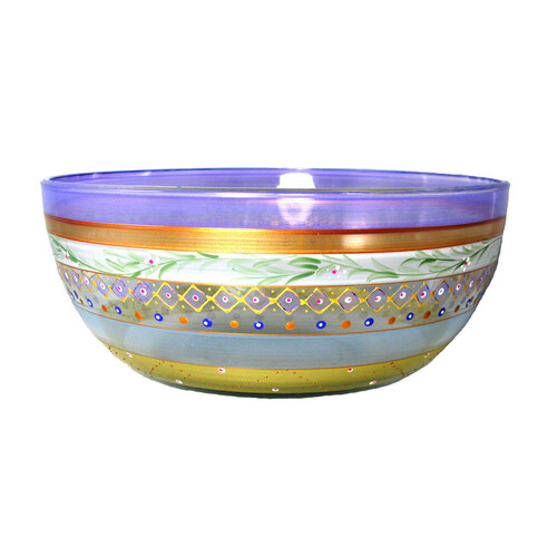 """11"""" Purple Mosaic Garland and Stripes Hand Painted Glass Serving Bowl - IMAGE 1"""