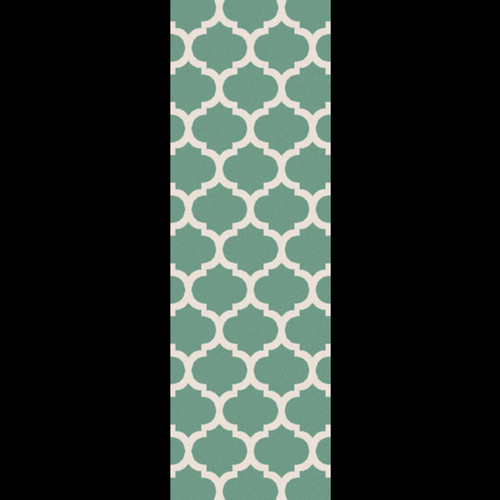 2.5' x 8' White and Green Reversible Area Throw Rug Runner - IMAGE 1