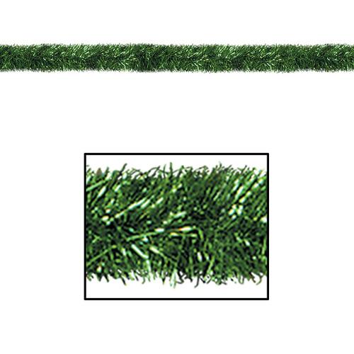 100' Festive Shiny Green Gleam 'N Tinsel Holiday Garland - Unlit - IMAGE 1