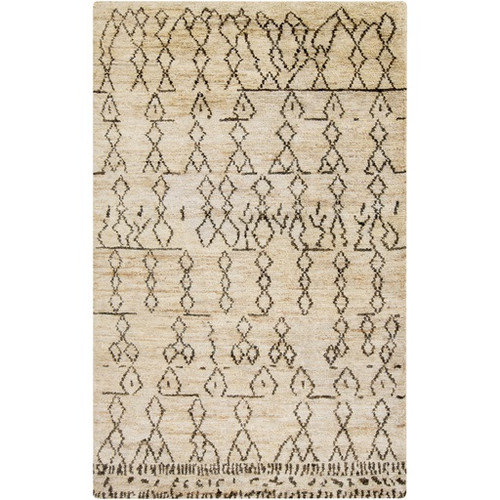 5' x 8' Geometric Beige and Black Hand Knotted Rectangular Area Throw Rug - IMAGE 1