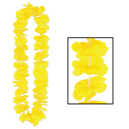 """Club Pack of 12 Hawaiian Luau Yellow Tropical Beach Party Flower Lei Necklaces 36"""" - IMAGE 1"""