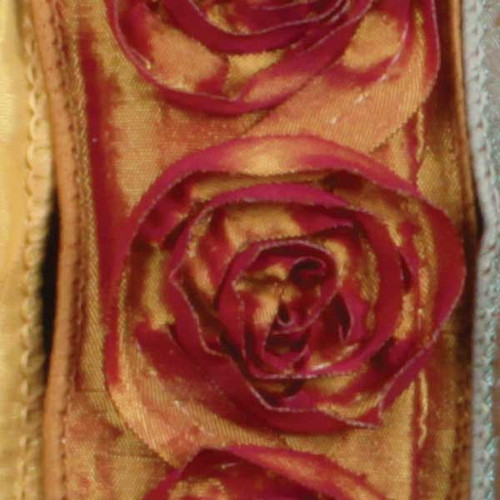 """Amber and Red Contemporary Roses Wired Craft Ribbon 1.5"""" x 10 Yards - IMAGE 1"""
