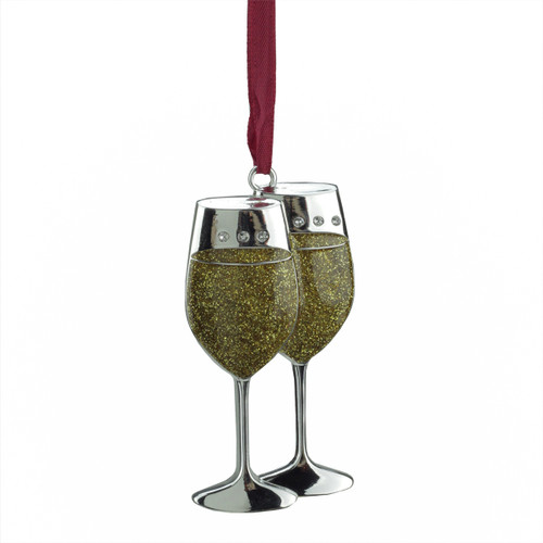 """3.25"""" Gold and Silver Plated Glitter Wine Glasses Christmas Ornament - IMAGE 1"""
