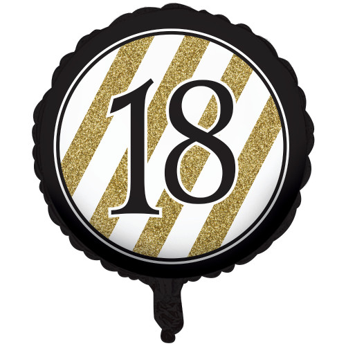 """Pack of 10 Black and Gold Metallic """"18"""" Foil Party Balloons 18"""" - IMAGE 1"""