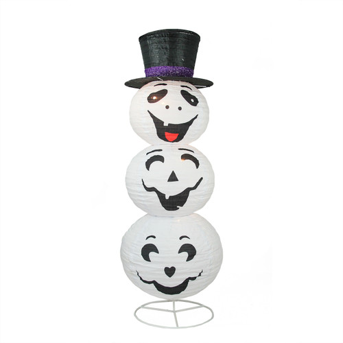 3.6' Pre-Lit White and Black Happy Ghost with Hat Halloween Outdoor Yard Art Decor - IMAGE 1