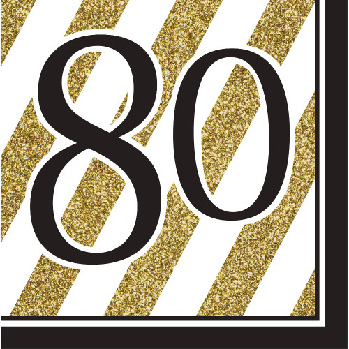 """Pack of 192 Gold and White Striped Disposable """"80"""" Birthday Party Luncheon Napkins 6.5"""" - IMAGE 1"""