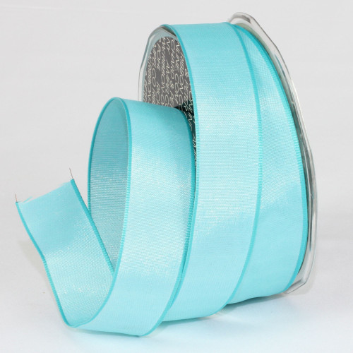 """Turquoise Blue Solid Wired Craft Ribbon 1"""" x 54 Yards - IMAGE 1"""