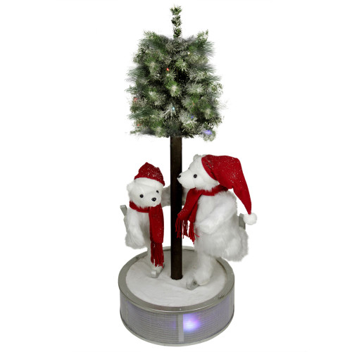 """48"""" Pre-Lit Red and White Ice Skating Polar Bears with Flocked Tree Christmas Figurine - IMAGE 1"""