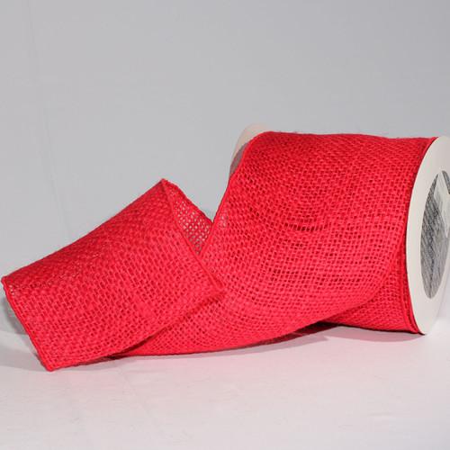 "Cherry Red Burlap Wired Craft Ribbon 5"" x 10 Yards - IMAGE 1"