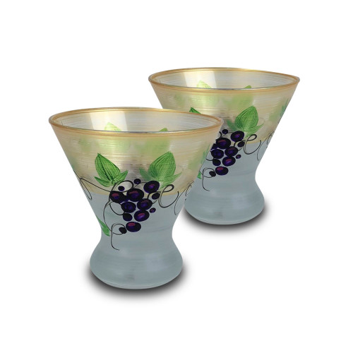 Set of 2 Gold and White Hand Painted Cosmopolitan Wine Glasses 8.25 oz. - IMAGE 1