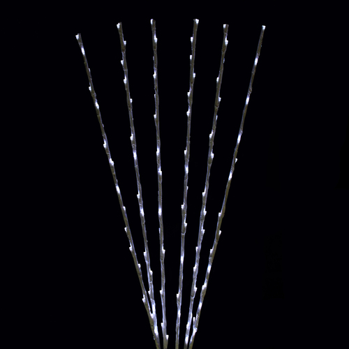 Set of 6 Enchanted Garden LED Pure White Lighted Branch