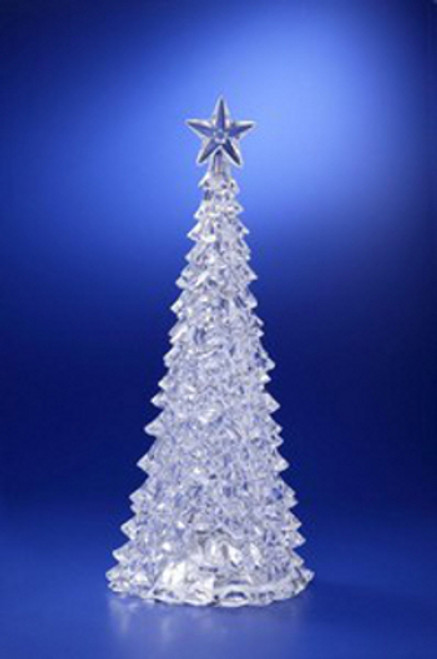 "Pack of 2 Icy Crystal Illuminated Christmas Pine Tree with Star Figures 15"" - IMAGE 1"