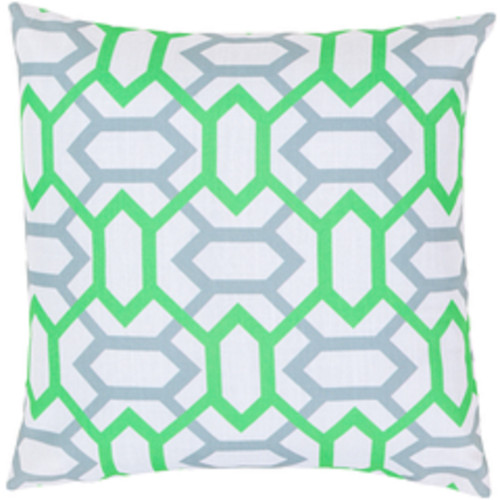 """22"""" Green and Gray Square Throw Pillow - Poly Filled - IMAGE 1"""