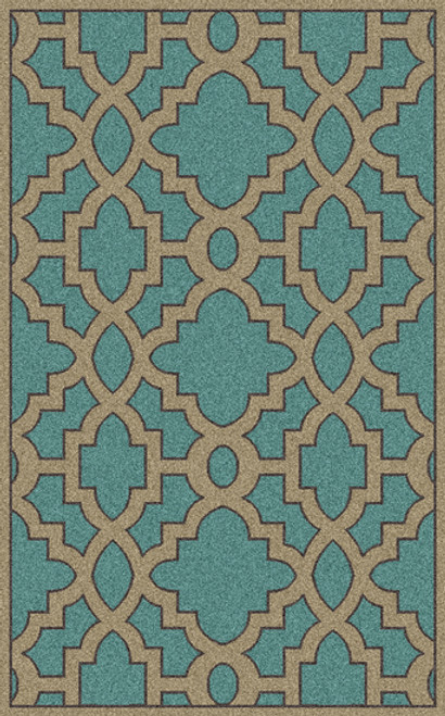 9' x 13' Moroccan Blue and Brown New Zealand Wool Rectangular Area Throw Rug - IMAGE 1