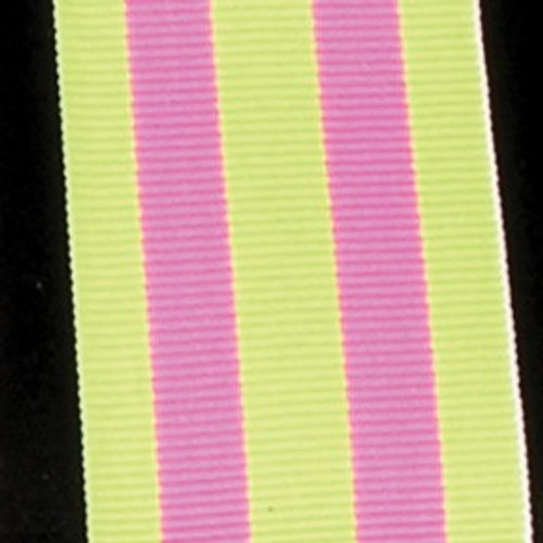 """Lime Yellow and Pink Striped Woven Grosgrain Craft Ribbon 1.5"""" x 55 Yards - IMAGE 1"""