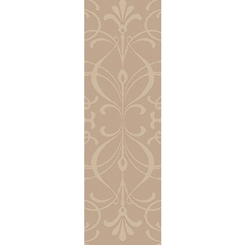 2.5' x 8' Full Bloom Tan Hand Woven Floral Rectangular Wool Area Throw Rug Runner - IMAGE 1