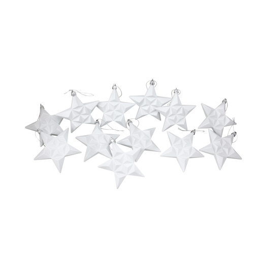 "12ct White Matte Finish Glittered Star Shatterproof Christmas Ornaments 5"" - IMAGE 1"