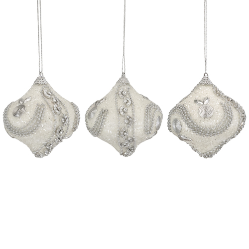 """3ct White and Silver Beaded Shatterproof Glittered Onion Drop Christmas Ornaments 3"""" (75mm) - IMAGE 1"""