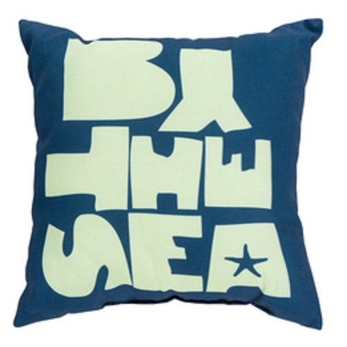 """20"""" Cobalt Blue and Mint Green """"By The Sea"""" Square Outdoor Throw Pillow - IMAGE 1"""