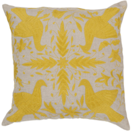"""18"""" Abalone Gray and Yellow Contemporary Square Throw Pillow - Down Filler - IMAGE 1"""