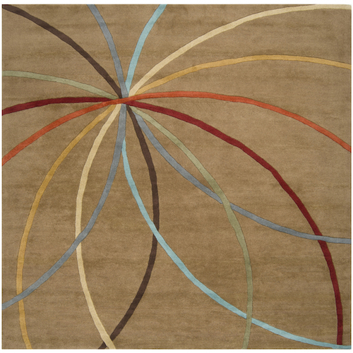 9.75' x 9.75' Brown and Red Contemporary Hand Tufted Square Wool Area Throw Rug - IMAGE 1
