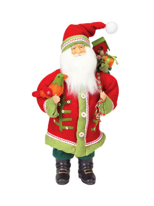 "20"" Red and Green Santa Claus with Bird Christmas Tabletop Figurine - IMAGE 1"