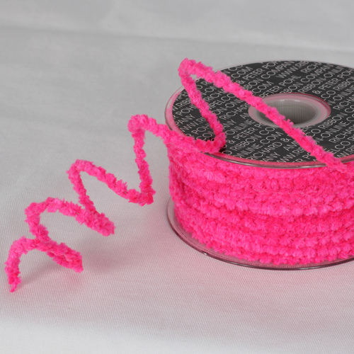 "Fuchsia Pink Chenille Wired Craft Ribbon 0.25"" x 110 Yards - IMAGE 1"