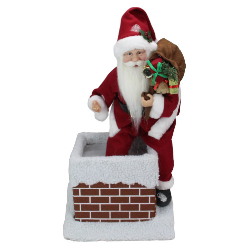 """16.5"""" Red and White Santa Claus Going Down a Chimney with Gifts Christmas Decor - IMAGE 1"""