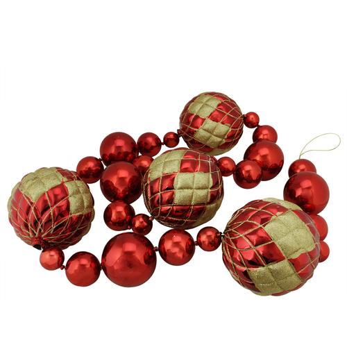 6' Oversized Shatterproof Shiny Red Christmas Ball Garland with Gold Glitter Accents - IMAGE 1